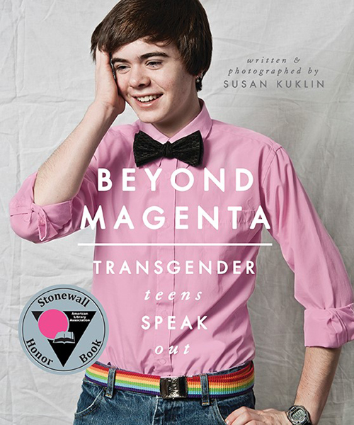 book cover for beyond magenta.  a full color photograph of a young trans person standing wearing a magenta dress shirt and black bow tie. they are smiling with their left hand on the side of their face.