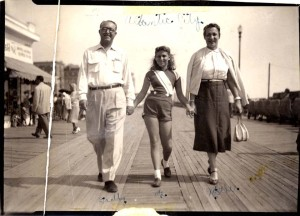 On the Boardwalk in Atlantic City with my parents. I was about nine or ten.